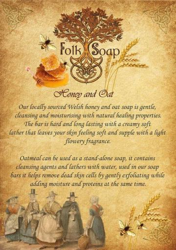 honey and oat folk soap bar