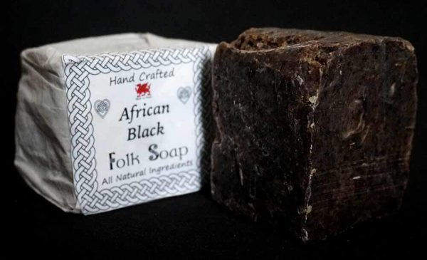 African Black Soap Bar Wrapped & Unwrapped