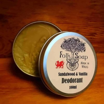 Natural Sandalwood and Vanilla Deodorant in aluminium tin