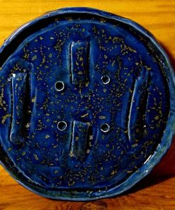 artisan blue and gold pottery soap dish, handmade by DeBee