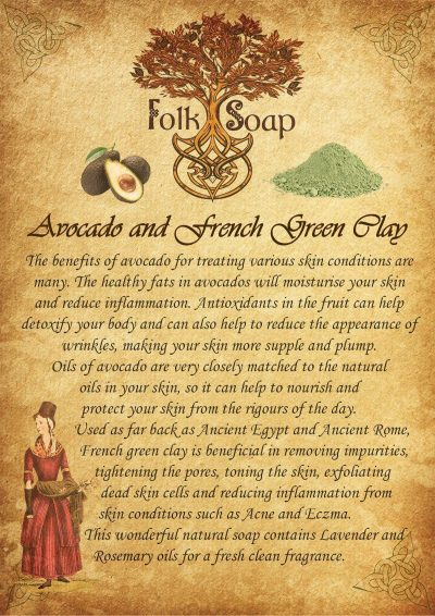 avocado and french green clay natural handcrafted soap with lavender and rosemary oils