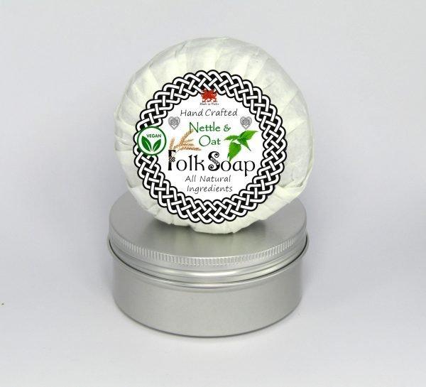 Folk Soap Travel Tin Soap with Nettle, Oat and Tea Tree