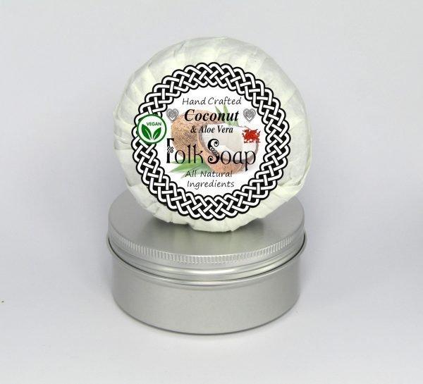Folk Soap coconut and aloe vera travel soap bar in tin