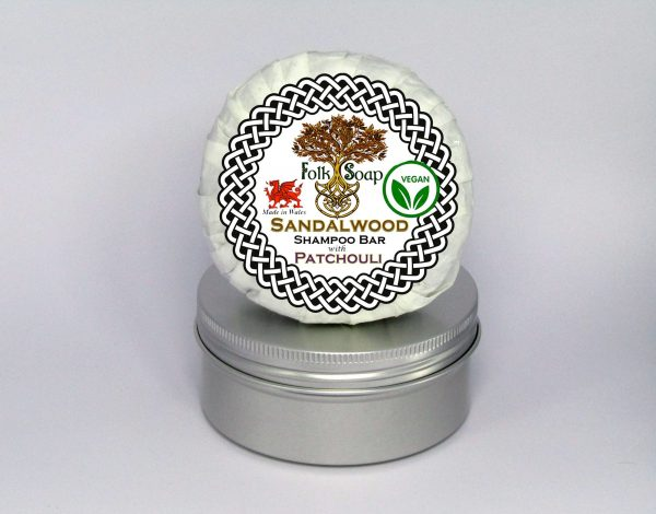Folk Soap Sandalwood & Patchouli Antibacterial Shampoo Bar in Travel Tin