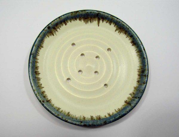 Ceramic Soap Dish with Blue Volcano Glazed Edging