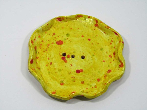 Clay soap dish - Yellow with red speckles by local artisan maker De-bee.
